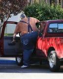 obese chaufför royaltyfria foton