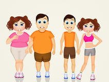 Obese couple before and after diet. Illustration of obese couple before and after diet Royalty Free Stock Photos