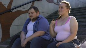 Obese cute girl flirting with young fat man, love in spite of imperfection stock footage