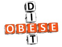 Obese Diet Crossword. 3D Obese Diet Crossword on white background Royalty Free Stock Images