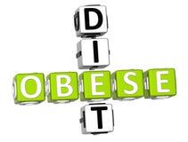Obese Diet Crossword. 3D Obese Diet Crossword on white background Stock Photo