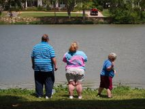 Free Obese Family Stand By Lake Stock Photography - 139505072