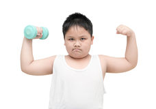 Obese fat boy is doing exercises with dumbbells isolated Stock Images