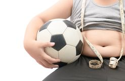 Obese fat boy holding football. Over white, diet to lose weight and healthy concept Stock Images