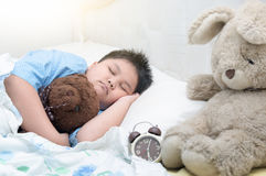 Obese fat boy sleep on bed. In morning Stock Photo