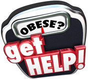 Obese Get Help Scale Lose Weight Royalty Free Stock Photos