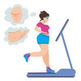 Obese girl runs on a treadmill Royalty Free Stock Image