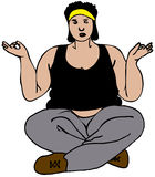 Obese Lady Doing Yoga Stock Photos