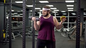 Obese male choosing between sport and fast food, burger addiction and motivation royalty free stock photography