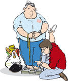 Obese man. Being weighed by doctor Royalty Free Stock Images