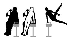 Obese man eating fast food and weight loss with pommel horse gymnastic. All the objects are in different layers royalty free illustration
