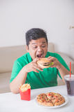 Obese man eating junk food. Obese man having his lunch of junk or unhealthy food at home Stock Images