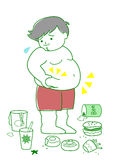Obese man with foods. Obese man with high calorie foods and drinks Royalty Free Stock Images