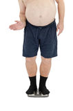 Obese man has fun on scales. Obese man in black socks has fun on weight scales Royalty Free Stock Images