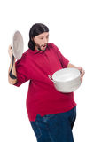 Obese man. The obese man isolated on the white Royalty Free Stock Images