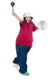 Obese man. The obese man isolated on the white Stock Photography