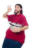 Obese man. The obese man isolated on the white Royalty Free Stock Photos