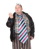Obese man with an outrageous fashion sense Stock Photos