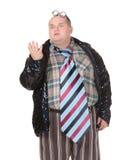 Obese man with an outrageous fashion sense. Fun portrait of an obese man with an outrageous fashion sense wearing a mixture of stripes, checks and spangles Stock Photos
