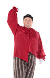 Obese man in a red costume and bowler hat Royalty Free Stock Image