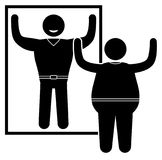 Obese man standing at the mirror. Normal weight and overweight man. Vector illustration Royalty Free Stock Image
