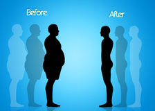 Obese man to diet. Illustration of obese man to diet Royalty Free Stock Images