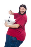 Obese man on the white Royalty Free Stock Photography