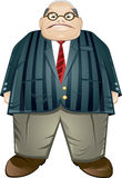 Obese middle aged businessman. Cartoon illustration of obese middle aged businessman in stripy jacket with bald head and glasses; white studio background Stock Photo