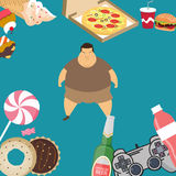 Obese overweight man kids eating sugar candy donut junk food. Vector Stock Image
