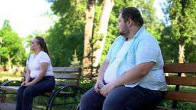 Obese people afraid of acquaintance, insecure about body weight, unconfident. Stock photo stock photography