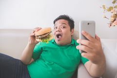 Obese person eating hamburger while using mobile phone. Portrait of obese person eating hamburger while using mobile phone Royalty Free Stock Images