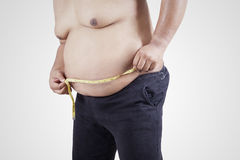 Obese person measuring his belly 2 Stock Images