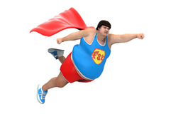 Obese superhero. Obese person trying superhero suit flying Royalty Free Stock Photo