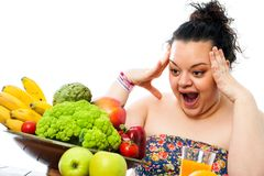 Obese teen with skocking face expression. Royalty Free Stock Images