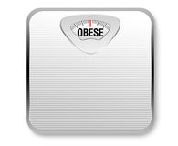 Obese Weight Scale. A white weight scale with the word obese for the weight display Royalty Free Stock Photos
