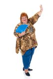 Obese woman. Self confident obese middle aged woman. Studio, white background Royalty Free Stock Photography