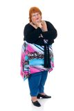 Obese woman. Self confident obese middle aged woman. Studio, white background royalty free stock photos