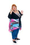 Obese woman. Self confident obese middle aged woman. Studio, white background stock images