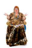 Obese woman. Self confident obese middle aged woman having tea. Studio, white background Royalty Free Stock Photos