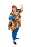 Obese woman. Self confident obese middle aged woman. Studio, white background Stock Image