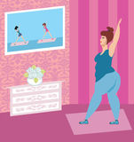 Obese woman doing home exercises while watching program on telev. Ision,  illustration Royalty Free Stock Photography
