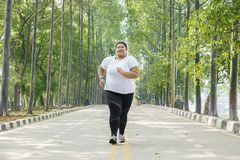 Obese woman jogging on the road. Low angle view of obese woman jogging on the road with happy expression royalty free stock images