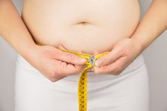 Obese woman measuring his waist with a measuring tape Stock Photo