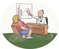 Obese Woman Patient Doctor Caricature. Illustration of an obese woman patient talking to her doctor who is pointing to a chart on the wall done in caricature Stock Images