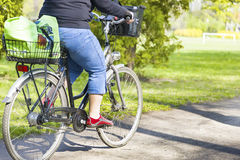 Obese woman riding a bike. In spring park Royalty Free Stock Photo