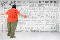 Obese Woman with Weight Loss Choices. Overwhelmed obese woman looking at list of fad diets and surgical weight loss methods  written on wall Stock Photo