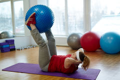 Free Obese Woman Working Out Hard In Fitness Studio Royalty Free Stock Images - 87441359