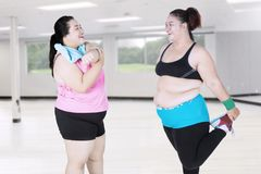 Obese women doing stretching together Stock Image