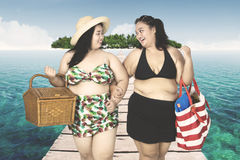 Obese women walking on bridge. Two obese women wearing swimsuit, walking on the wooden bridge while smiling together Stock Photo
