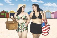 Obese women walking near cottage Royalty Free Stock Photo